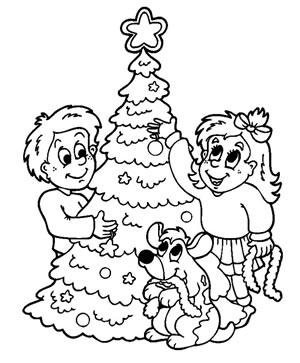 Bambini con abete