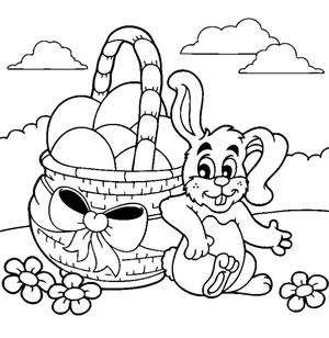 Coniglio con cesto gigante