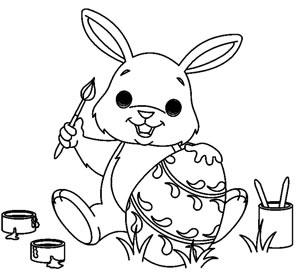 Coniglio dipinge uova